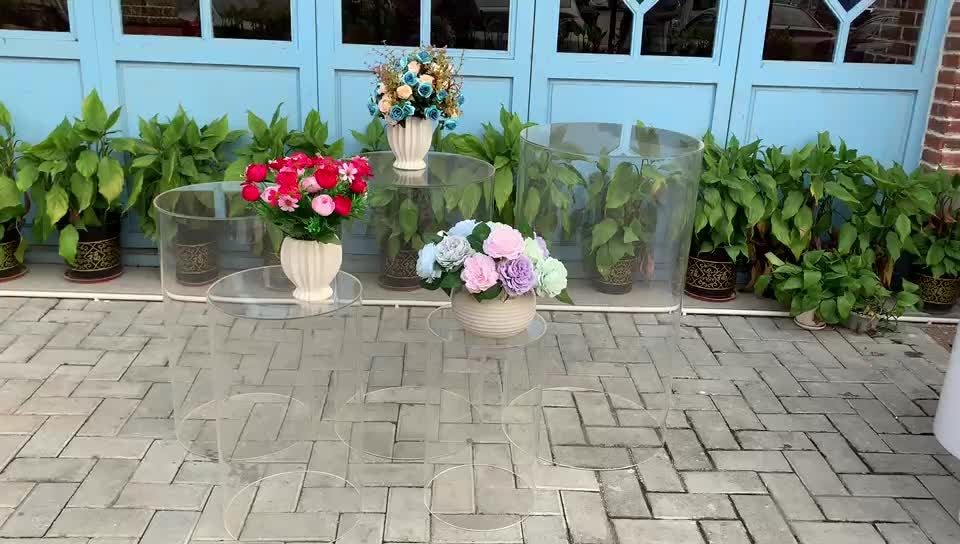NAXILAI Wholesale  Acrylic Round Plinth White Or Transparent Display Plinths Clear Acrylic Pedestal For Wedding Or Event