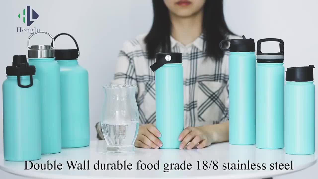 Promoción diseño personalizado botella de flexcap boca ancha de acero inoxidable con aislamiento deportes botella de agua de botella de ciclismo