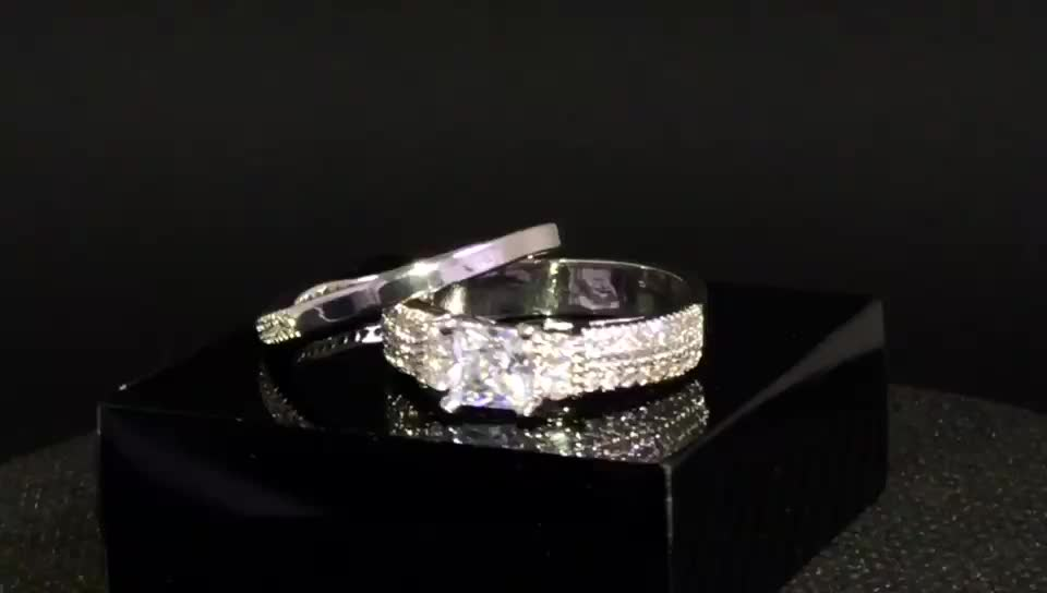 Fashion Cz Zircon Engagement Couple Finger Ring For Indian Couple