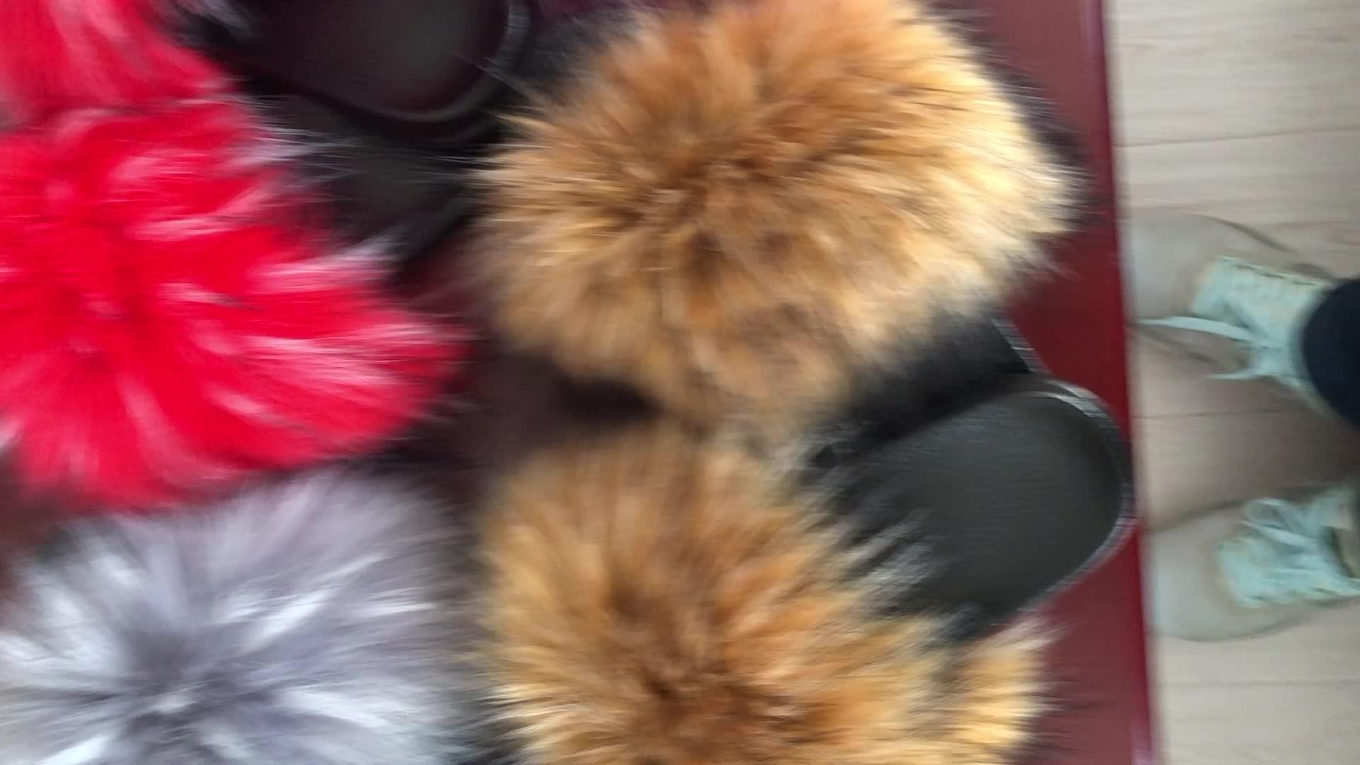 แฟชั่นผู้หญิง Faux Fox Fur รองเท้าแตะ Faux Raccoon ขนสัตว์ Furry สไลด์ Fur สไลด์