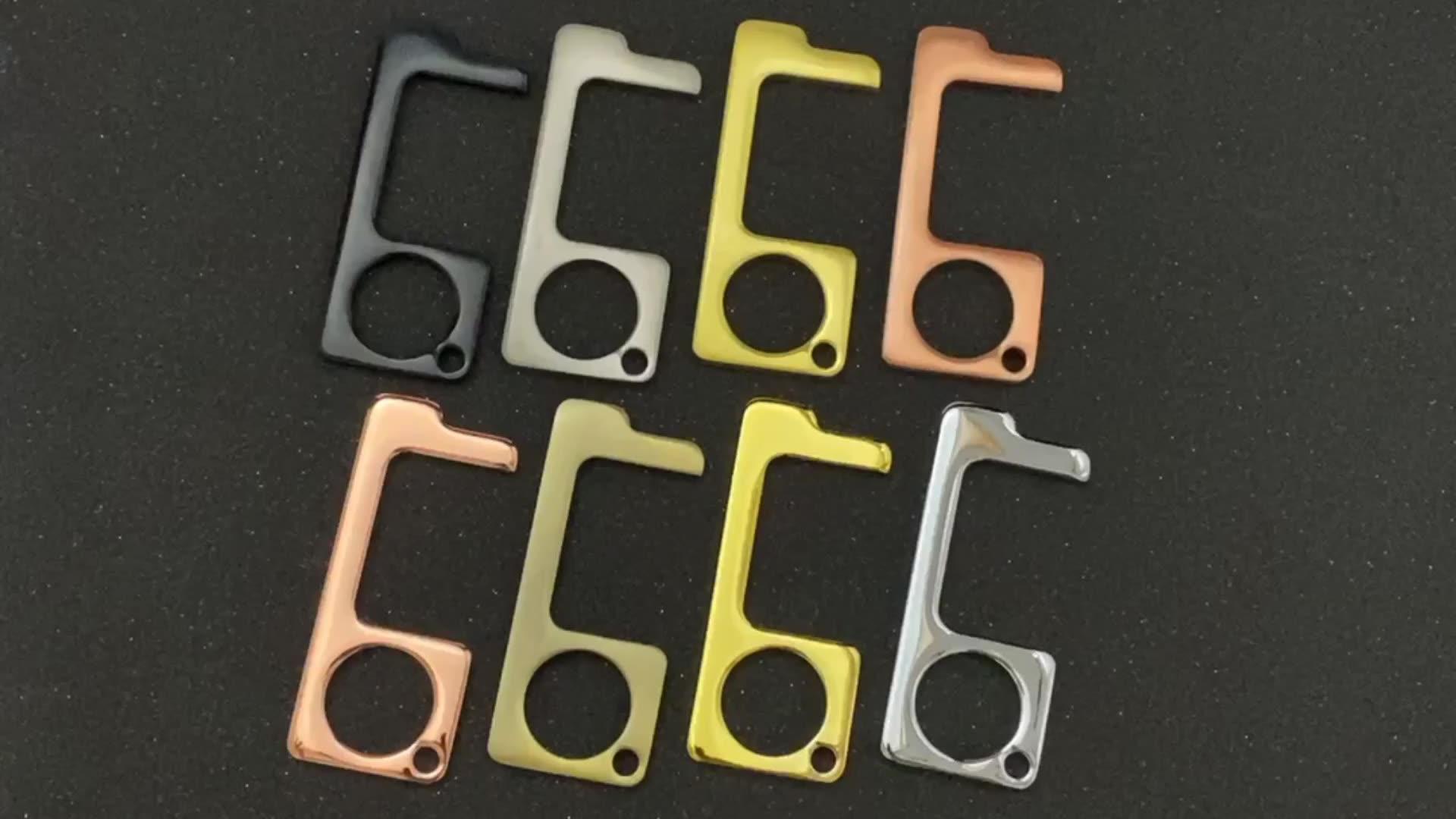 Özel boyut 72x30mm mat altın kaplama metal touchless sıhhi temassız kapı açacağı