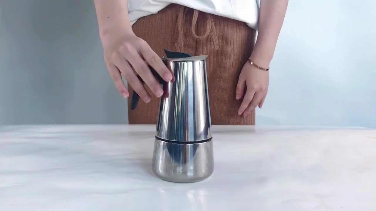 Hot Selling Expresso Coffee Maker Stovetop Stainless Steel Italian Moka Coffee Pot 2/4/6/9 Cups