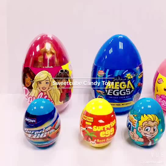 big capsule plastic toy inside printed toy candy surprise egg with candy beans