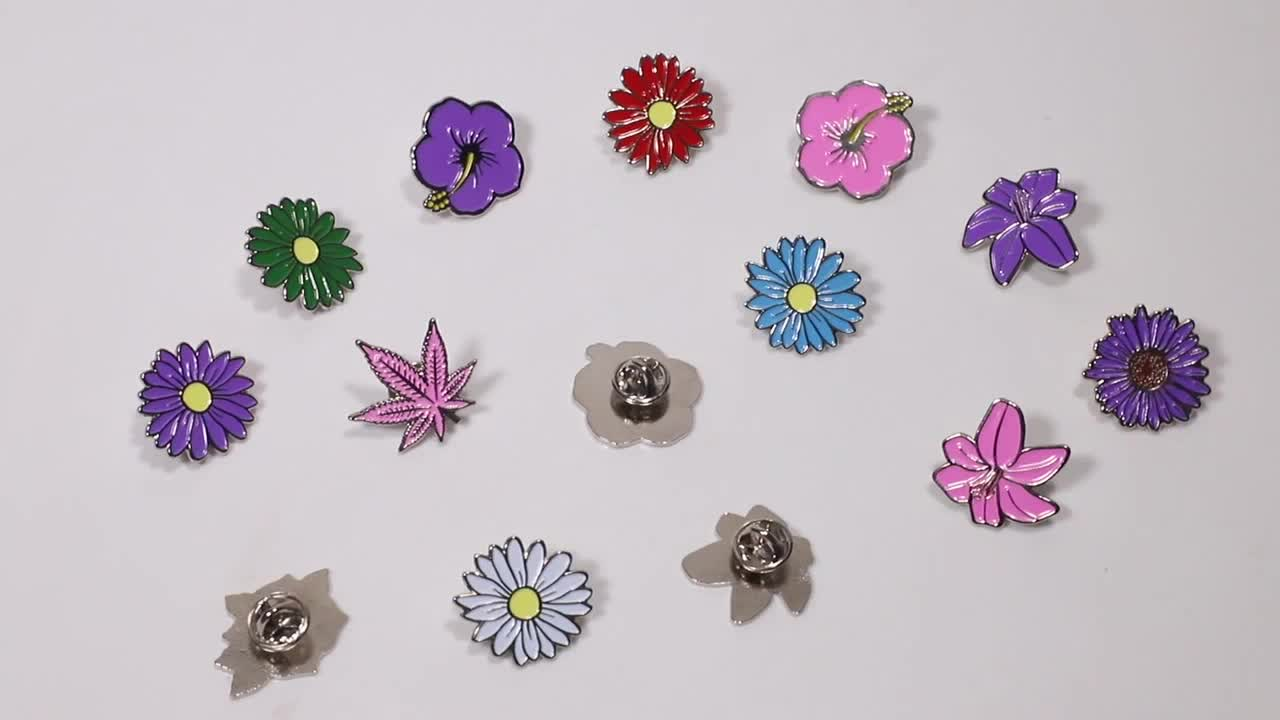 Good quality metal wholesale cheap flower round enamel lapel pin custom flower logo