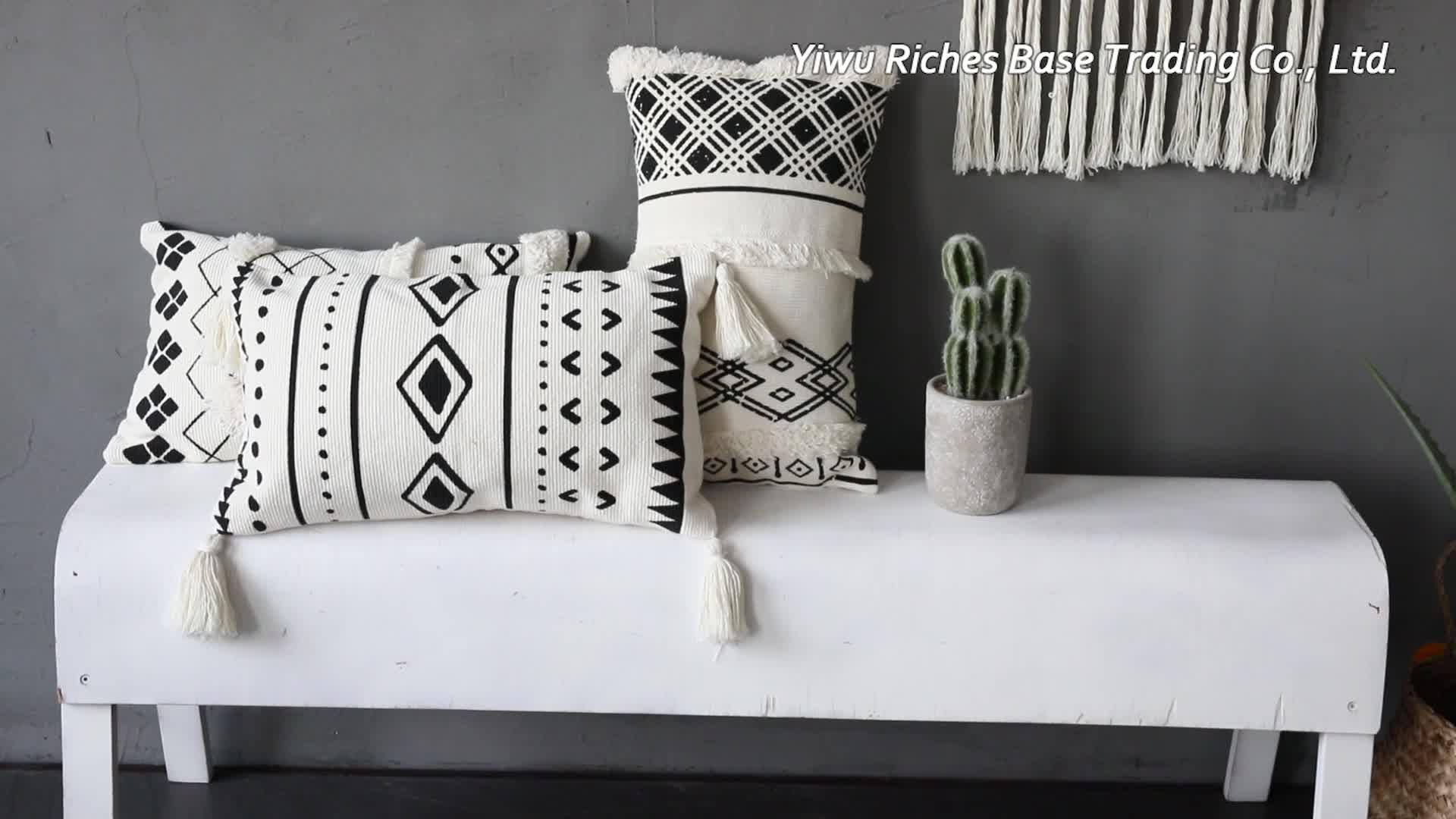 Style nordique Luxe Taie d'oreiller Impression Taille Oreillers Maison Décoratif Taie d'oreiller avec des glands