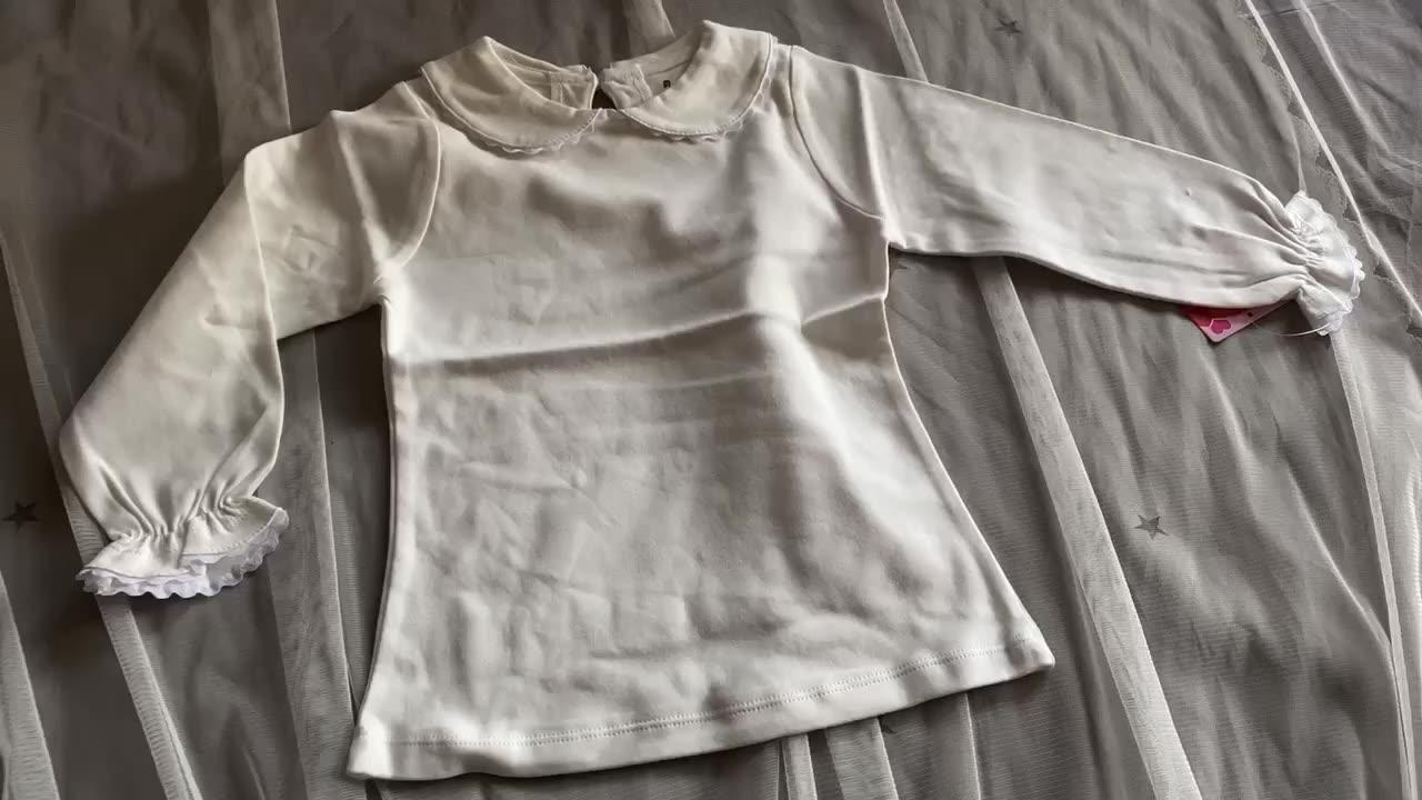 PHB 50354 di colore solido bianco di disegno semplice stili capretti dei bambini delle ragazze in bianco della camicia del collare del peter pan