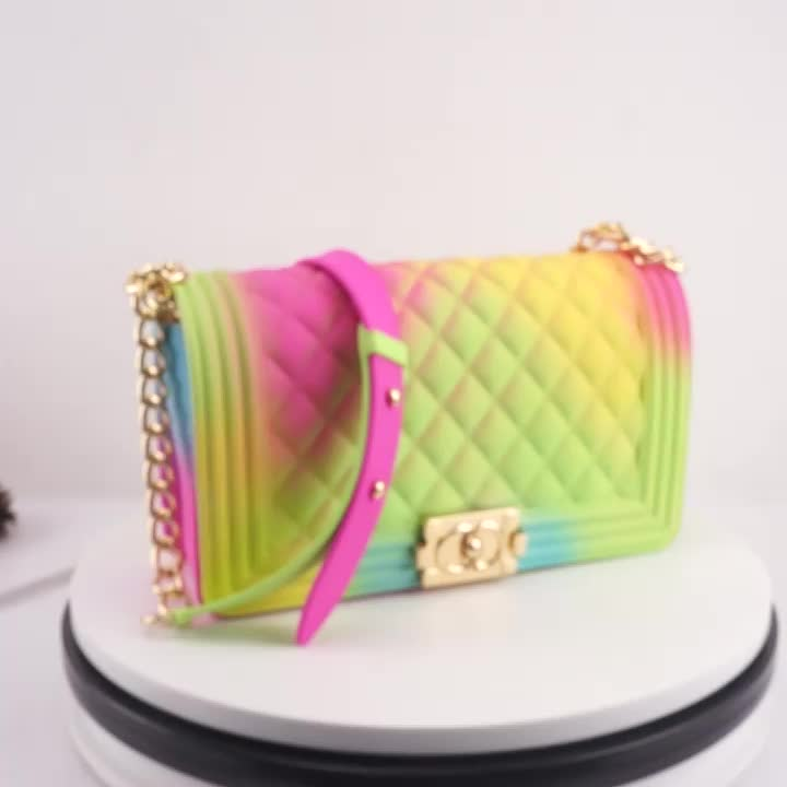 2020 Hot selling fashion  PVC bag candy color jelly bag purses handbags for women