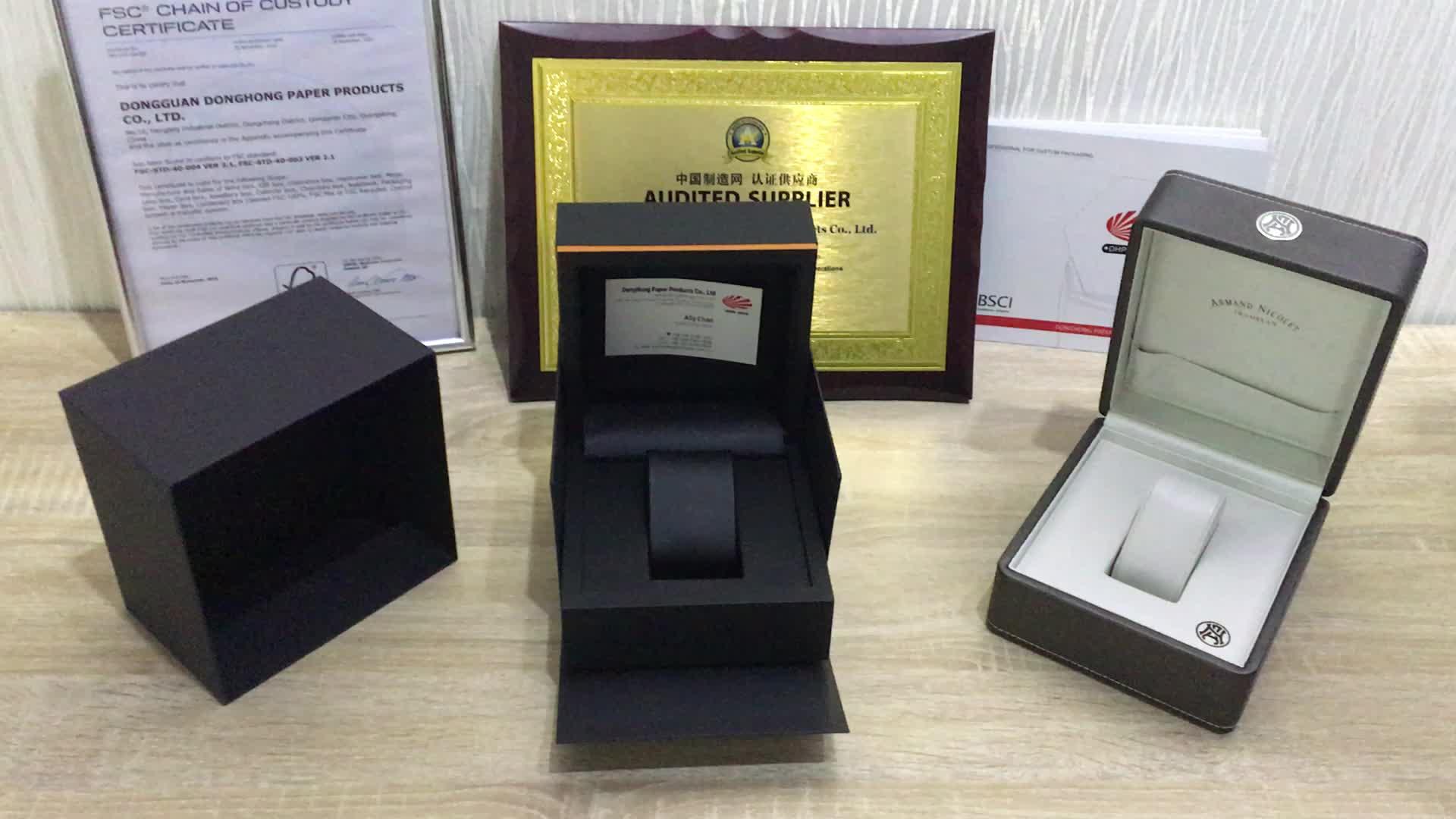 ベルベット黒ファンシー段ボール Oem カスタム箔ロゴラグジュアリーウォッチボックス包装箱のデザイン