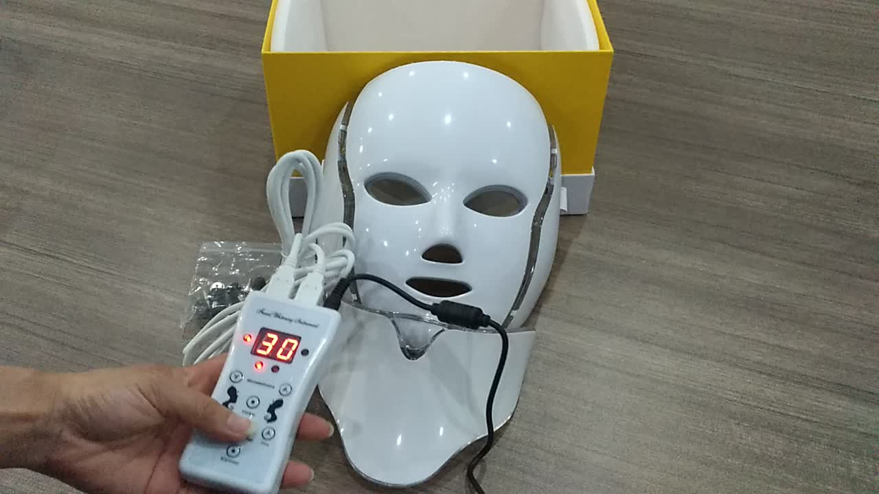 Anti-aging skin tightening light therapy device 7 color LED mask neck photon ultrasonic beauty instrument