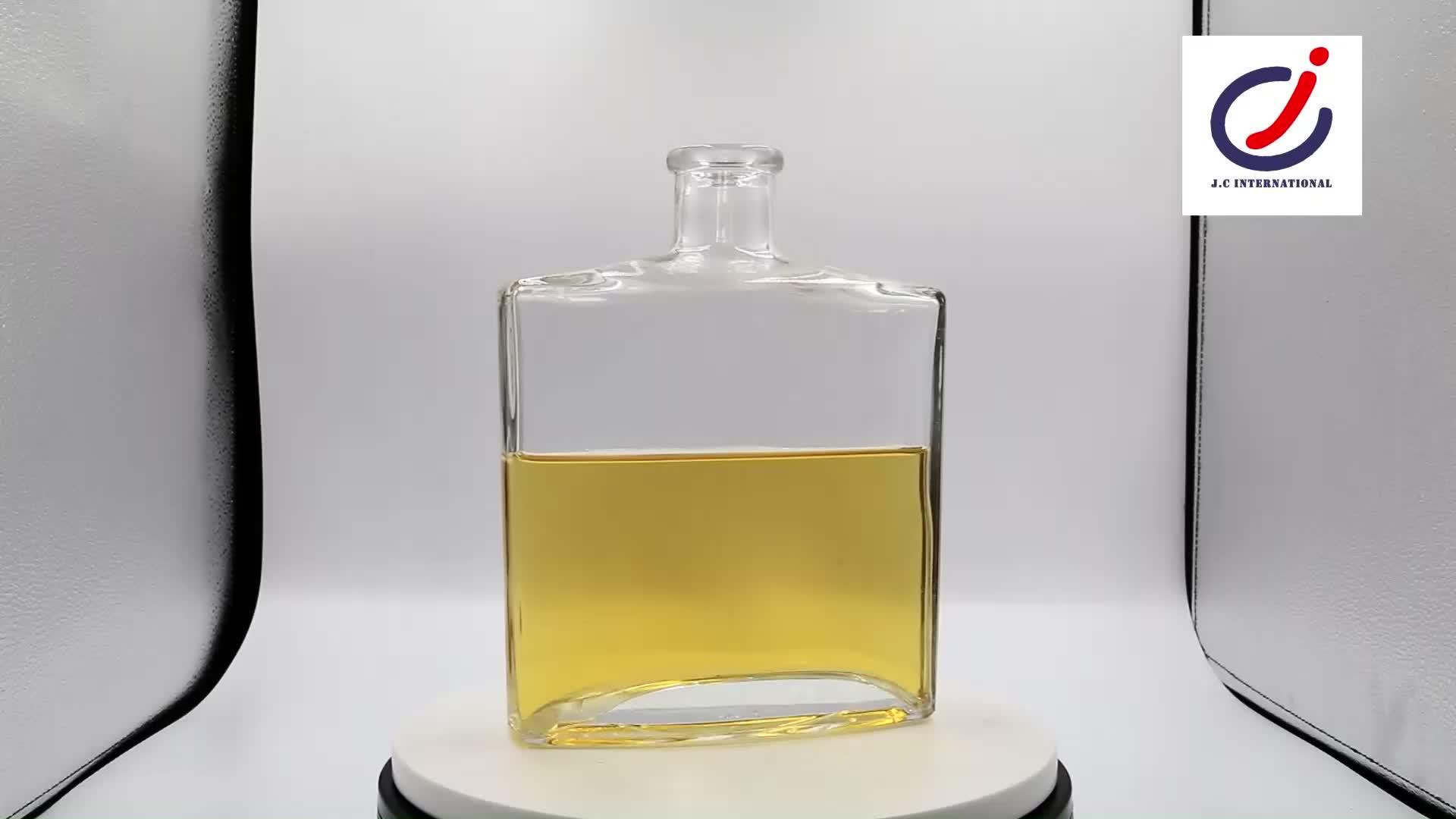 970 ミリリットルフラット正方形スムーズ表面口グラスボトル