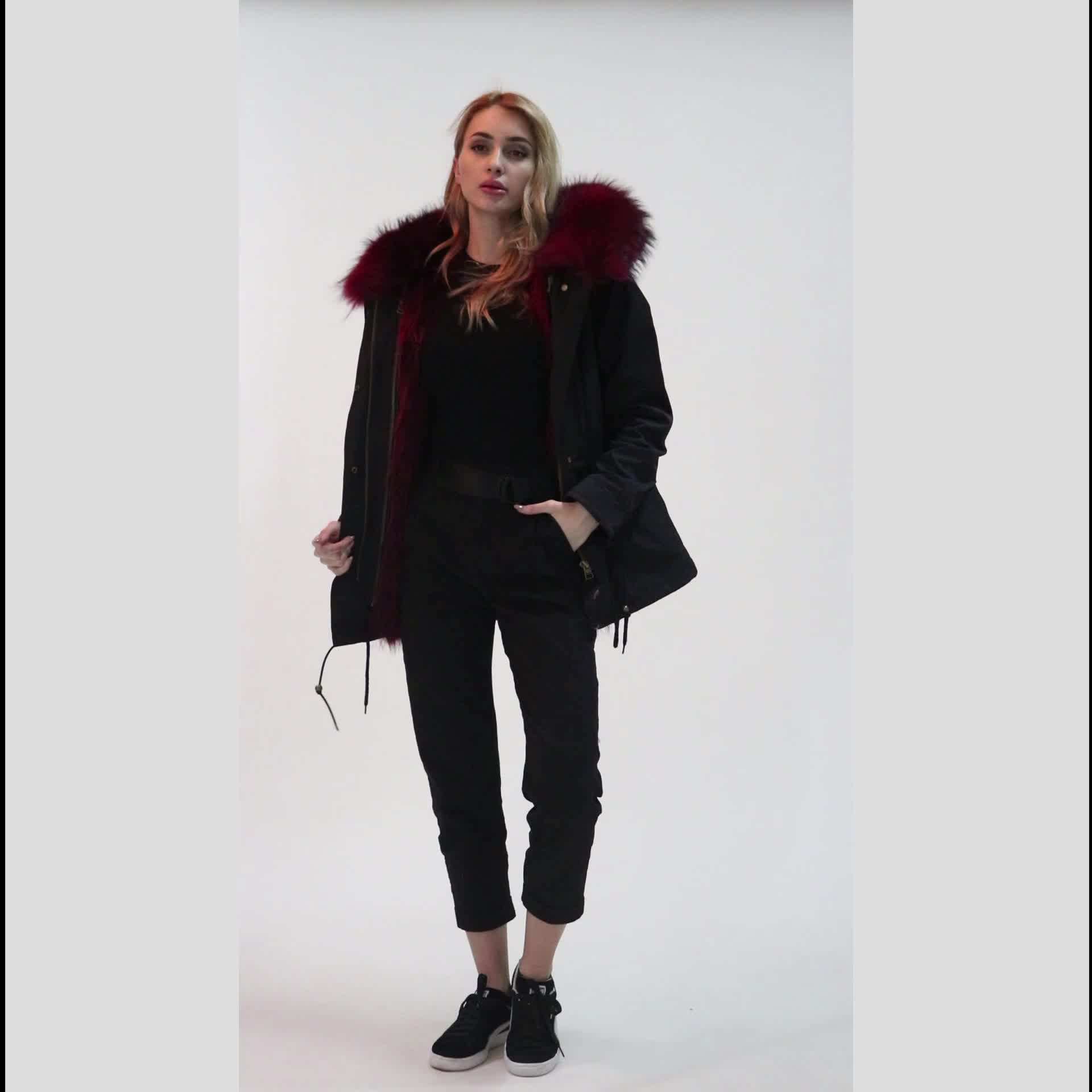 Ladies Winter Warm Clothes Hooded Jacket Real Raccoon Fur Parka Coat for Women