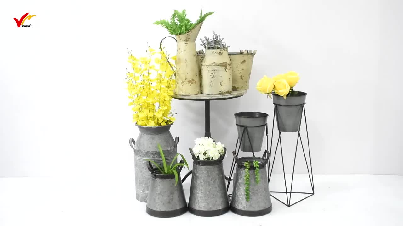 Unique geometry creative metal Iron flower pot rack stand with plant pot
