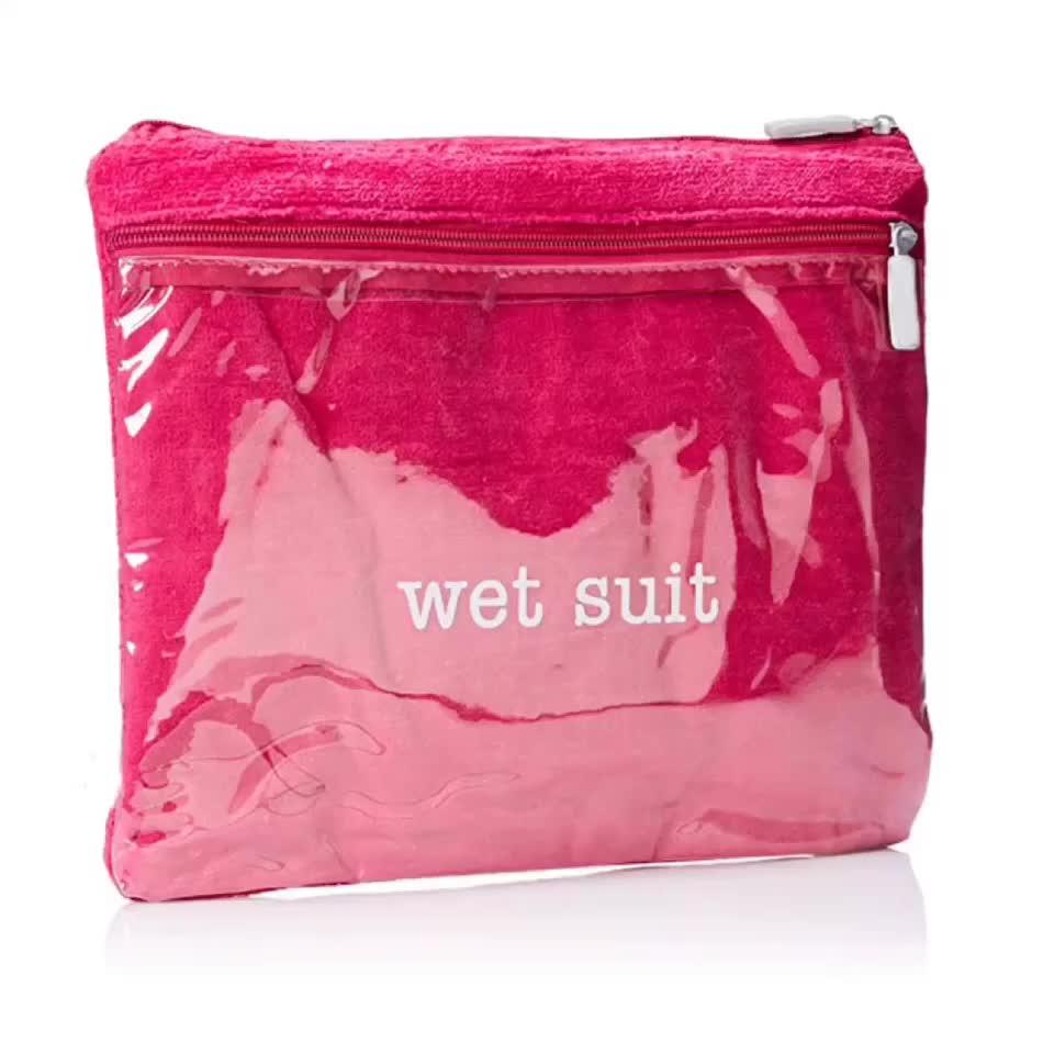 Wet Swimsuit Bag Premium Bra Wash Bags for Lingerie Wet Suit Compartment Women's Travel Terry Bikini Bag