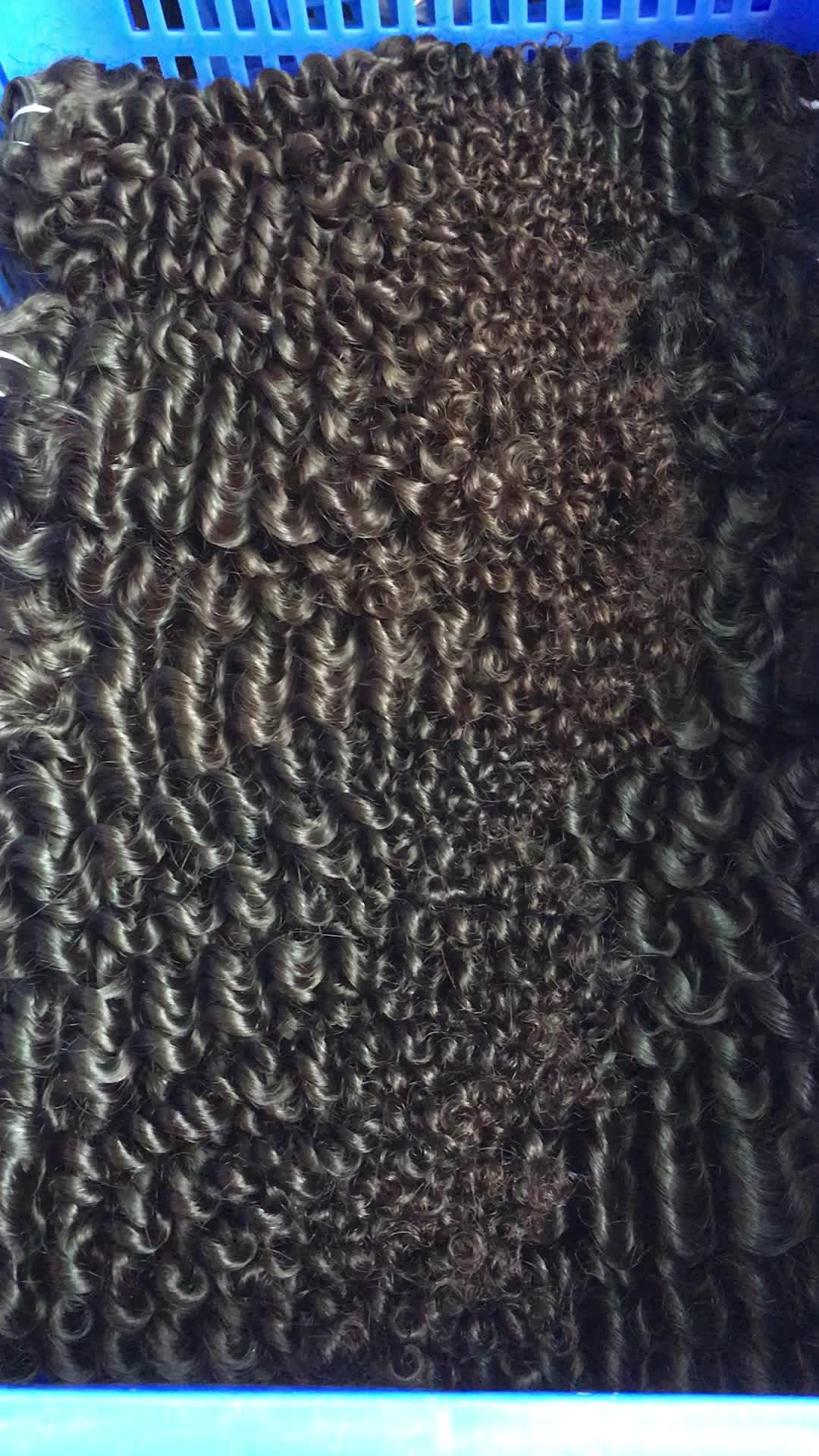No se cae, no se enreda, cabello rizado natural sin procesar birmano, vendedor de cutícula, cabello humano virgen alineado, Pelo Rizado sin procesar
