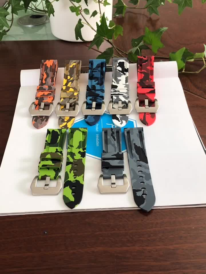 Camouflage color Silicone Rubber watch 끈 묶을때 해도 rubber strap
