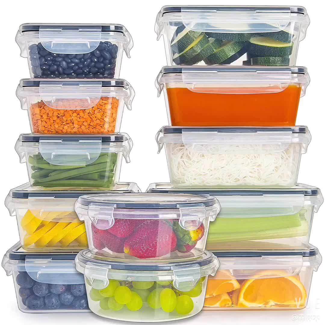 12 팩 플라스틱 밀폐 Stackable 쉬운 스냅 잠금 BPA 무료 음식 저장 용기 세트 뚜껑 부엌