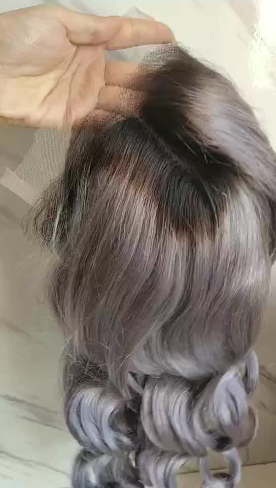 13x6 Lace Frontal Wigs Human Hair Cuticle Grey Color Brazilian Virgin Hair Glueless Loose Wave Wigs Pre Plucked for Woman
