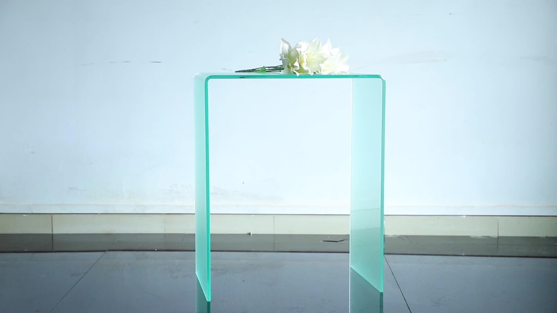Kaca melengkung Meja Konsol dalam Warna Yang Jelas