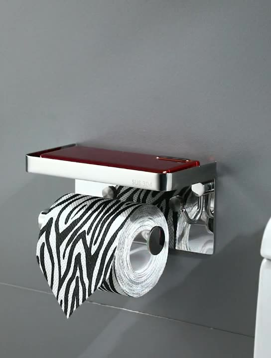 Luxury 304 toilet wall mounted paper holder spare roll stainless steel tissue holder with phone shelf