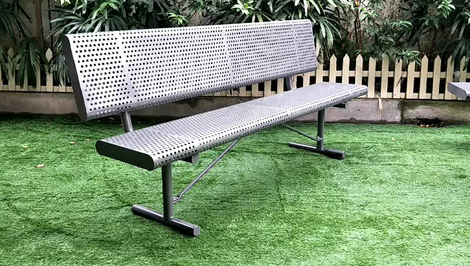6 Feet Long Perforated Steel Outdoor Metal Backless Bench