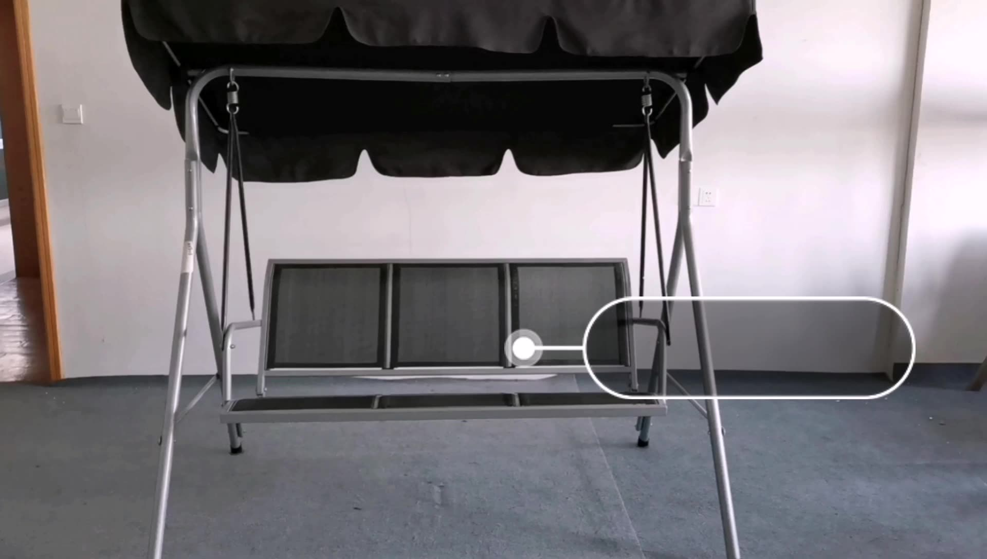 outdoor swing awning 3 person chair sofa canopy patio