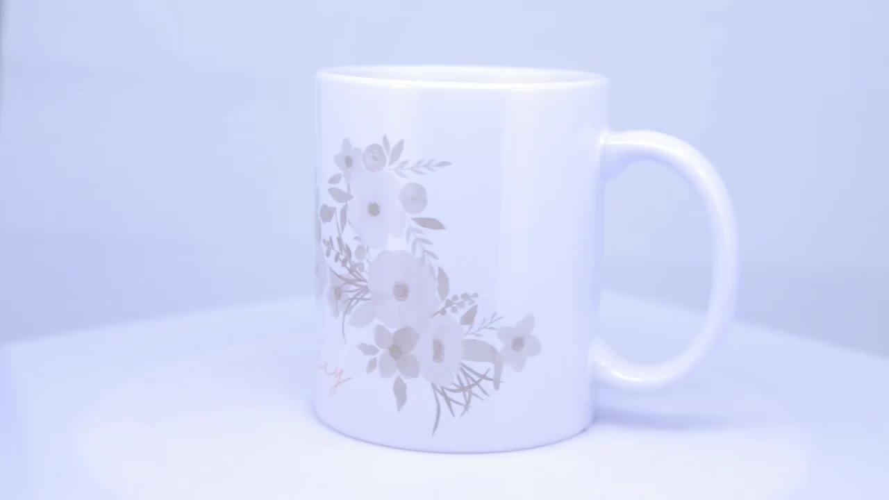 ที่กำหนดเองที่มีคุณภาพสูง applique 11 oz ระเหิดสีขาวเซรามิคถ้วยแก้วแก้วกาแฟที่มีด้ามจับ