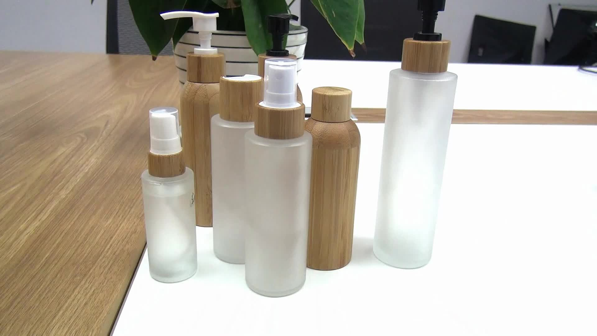 Luxury  cosmetic packaging 10ml 15ml 30ml 50ml 100ml bamboo essential oil bottle with glass inner
