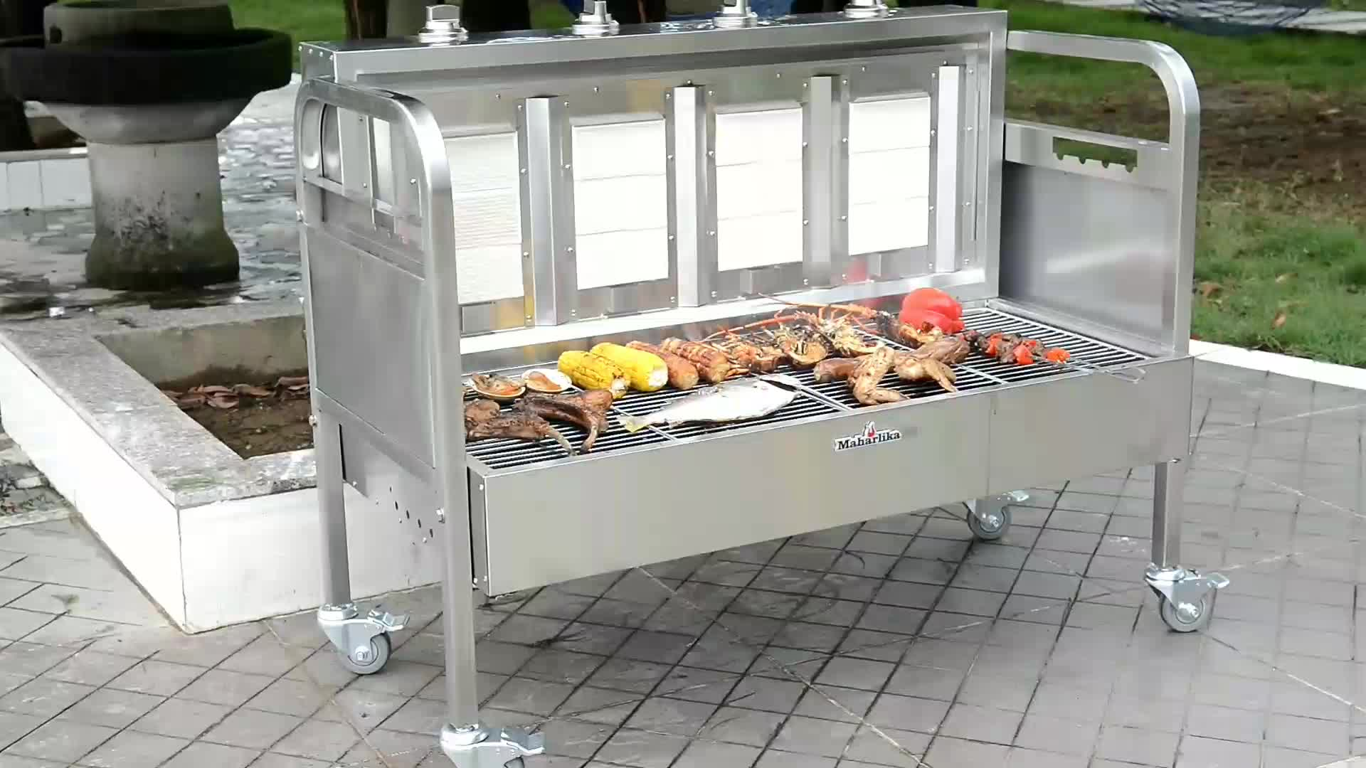 portable restaurant stainless steel lamb spit rotisserie charcoal outdoor bbq gas grill