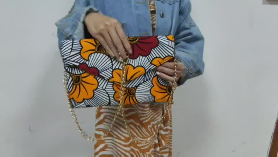 New Arrivals African Ankara Print Bags Hot Selling Envelop Clutch Bag with Chain Handbags for Ladies