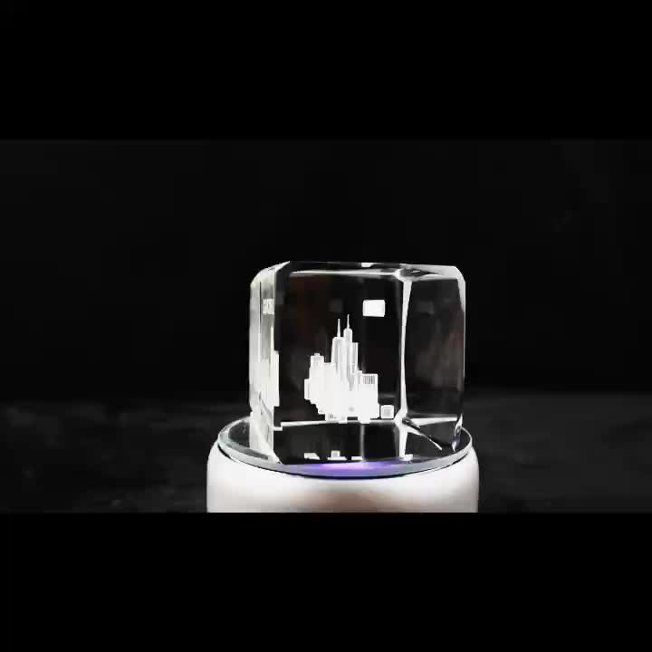 Hot sale souvenir glass blocks/cubes gift 3d laser Chicago engraved crystal/paperweight crystal blank Photo Engraved  Crystal