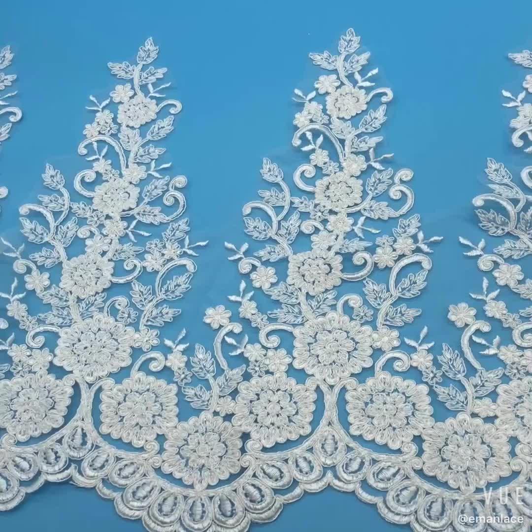 E2804G 38 Cm Polyester Bordir Bridal Renda Trim Putih Organza Manik-manik Perbatasan Renda Hiasan untuk Pernikahan Gaun Jahit Renda