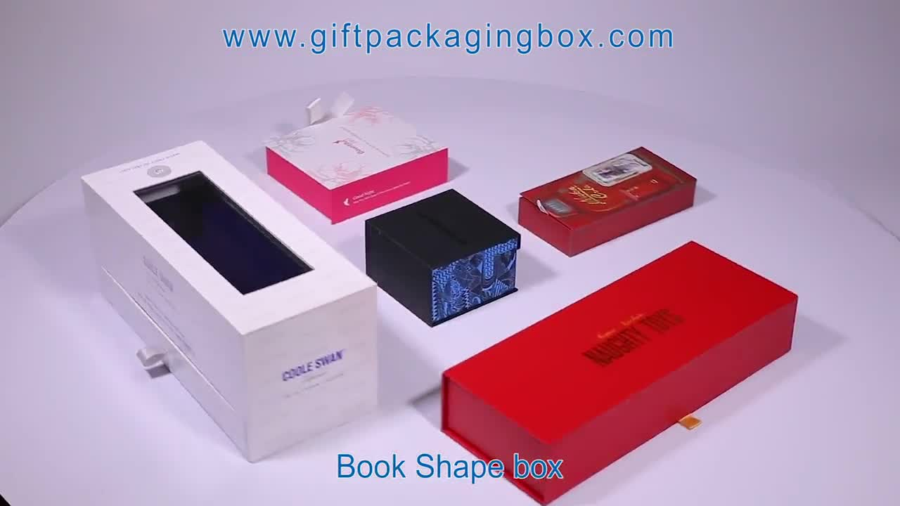 High Quality Luxury Cardboard Book Shape Style Small Packaging Custom Cosmetic Packing Box With Ribbon Closure