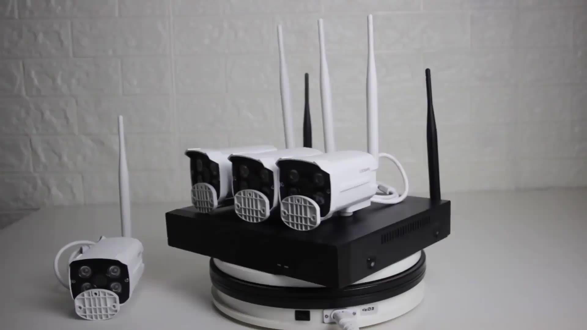 ZGWang 8CH Wi-fi Kit Câmera NVR ONVIF Câmeras 8 3MP H.265x Áudio em Dois Sentidos Sistema de CCTV Sem Fio Wi-fi Câmera À Prova D' Água conjunto