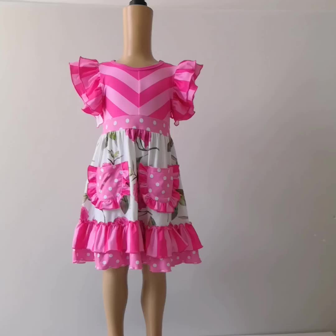New Arrive Pink Floral Ruffled Flutter Sleeve Dress Wholesale Baby Girl Summer Dress With Pockets