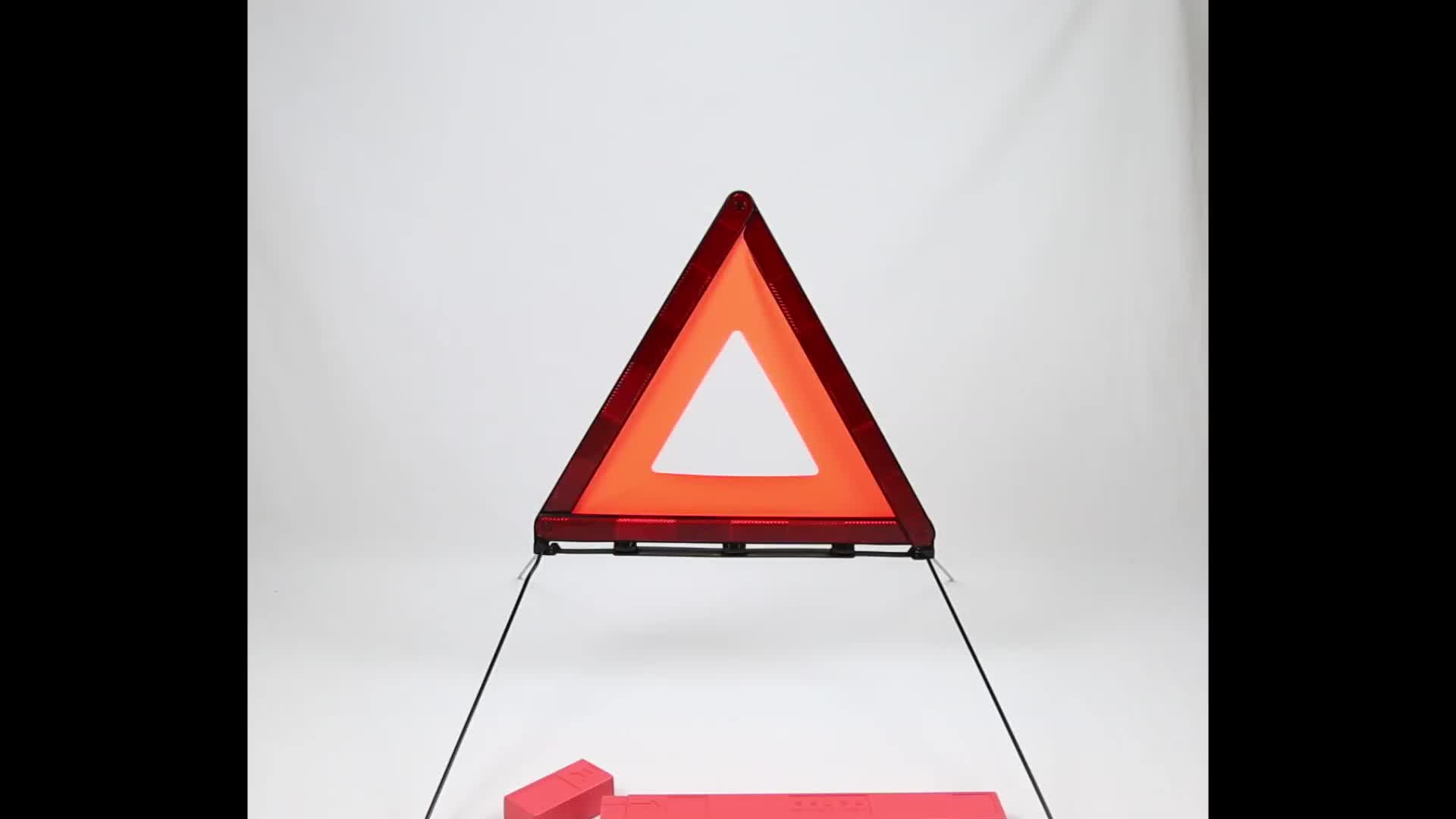 รถสามเหลี่ยมป้ายเตือนสัญญาณเตือนการจราจรสำหรับรถบรรจุป้ายเตือนสะท้อนแสงเครื่องมือฉุกเฉิน