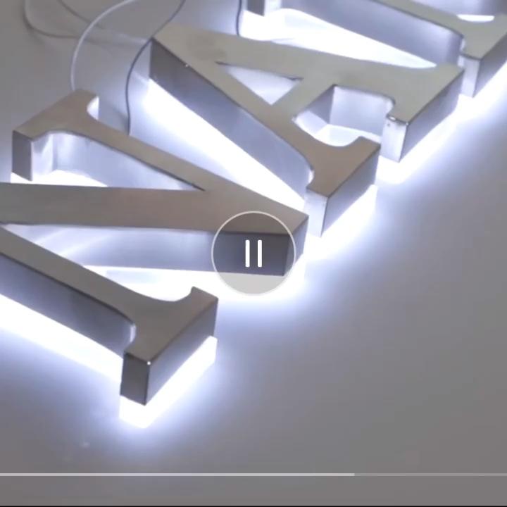 Custom retroilluminato 3d ha portato la lettera segno esterno logo in metallo segno
