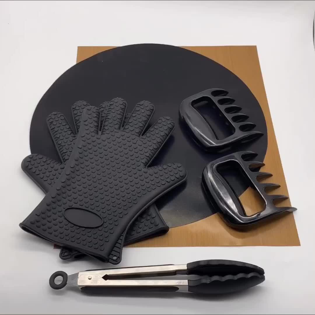 BHD kolay temiz yuvarlak yeniden kullanılabilir ağır PTFE yapışmaz yanmaz kömür barbekü ızgara matı barbekü için