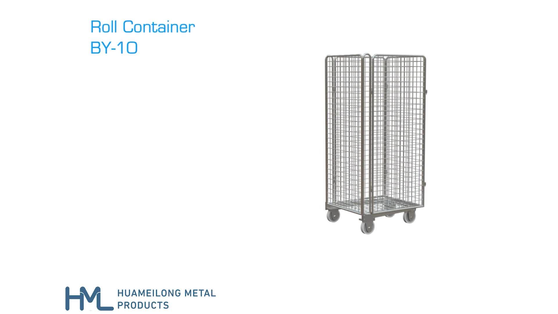 Di trasporto magazzino luminoso in acciaio zincato logistica europeo maglia di filo pieghevole zincato rotolo trolley carrello