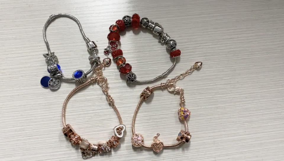 VRIUA Marke Rose Gold Liebe Lock Charme Armbänder & Armreifen für Frauen Mädchen Murano Kristall Perlen Fit Pan Armbänder DIY schmuck