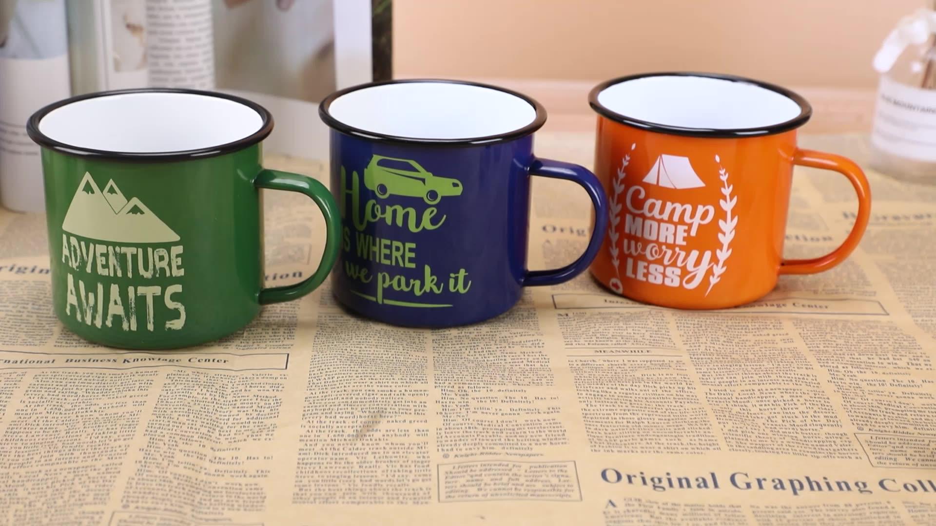 Venta caliente Vintage de esmalte Camping taza sublimación de taza de café de regalo