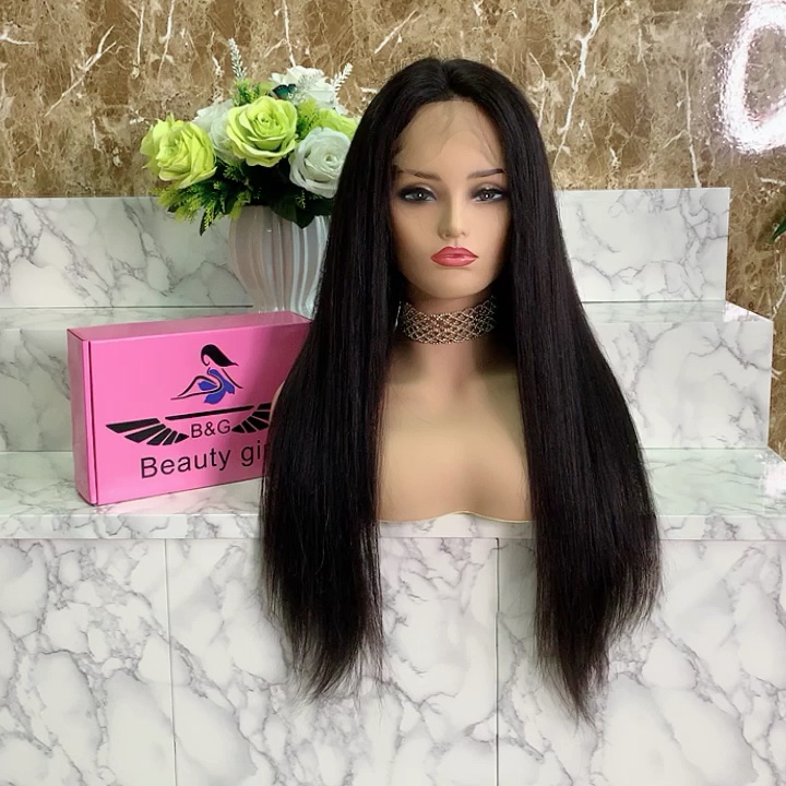 China supplier wholesale indian human hair full lace raw hair wig of straight with natural hair line