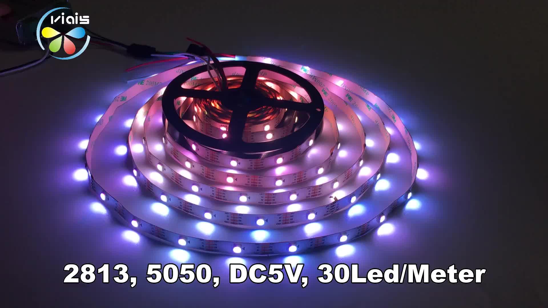 Viais Fabrikant Programmeerbare Adresseerbare 5 V Flexibele Waterdichte WS2812B Smd 5050 RGB Licht Led Strip