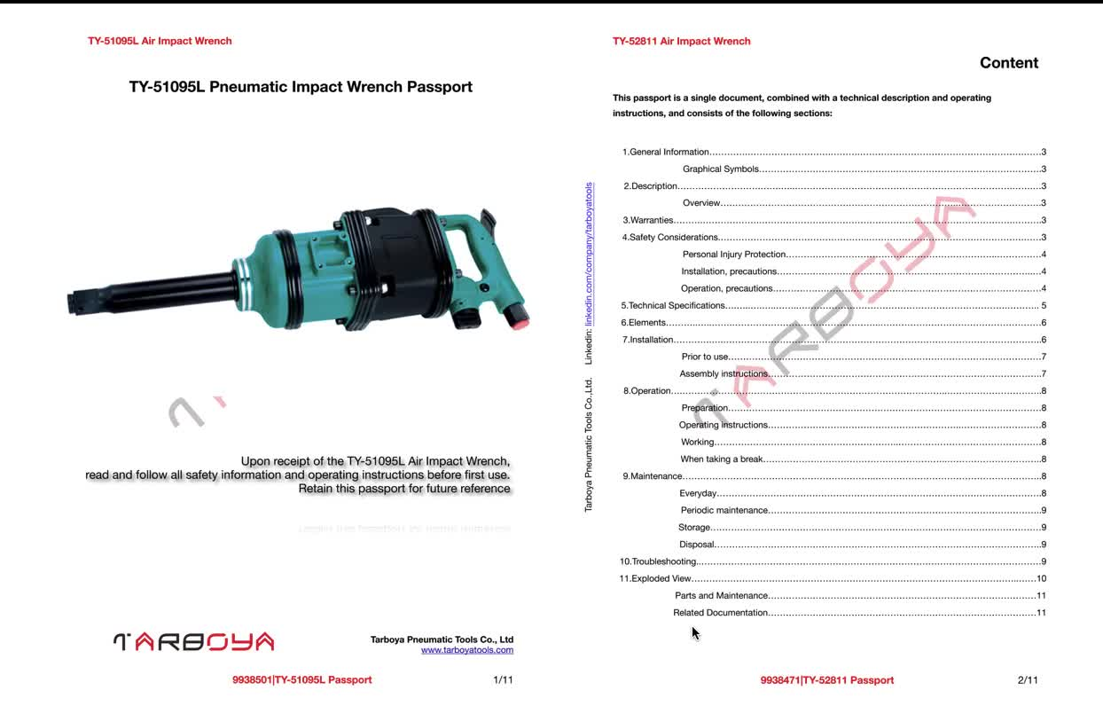 TY-51095L Air Impact Wrench 3,300RPM,50mm Bolt Capacity, 3,800 Nm Max Torque, rocking dog clutch