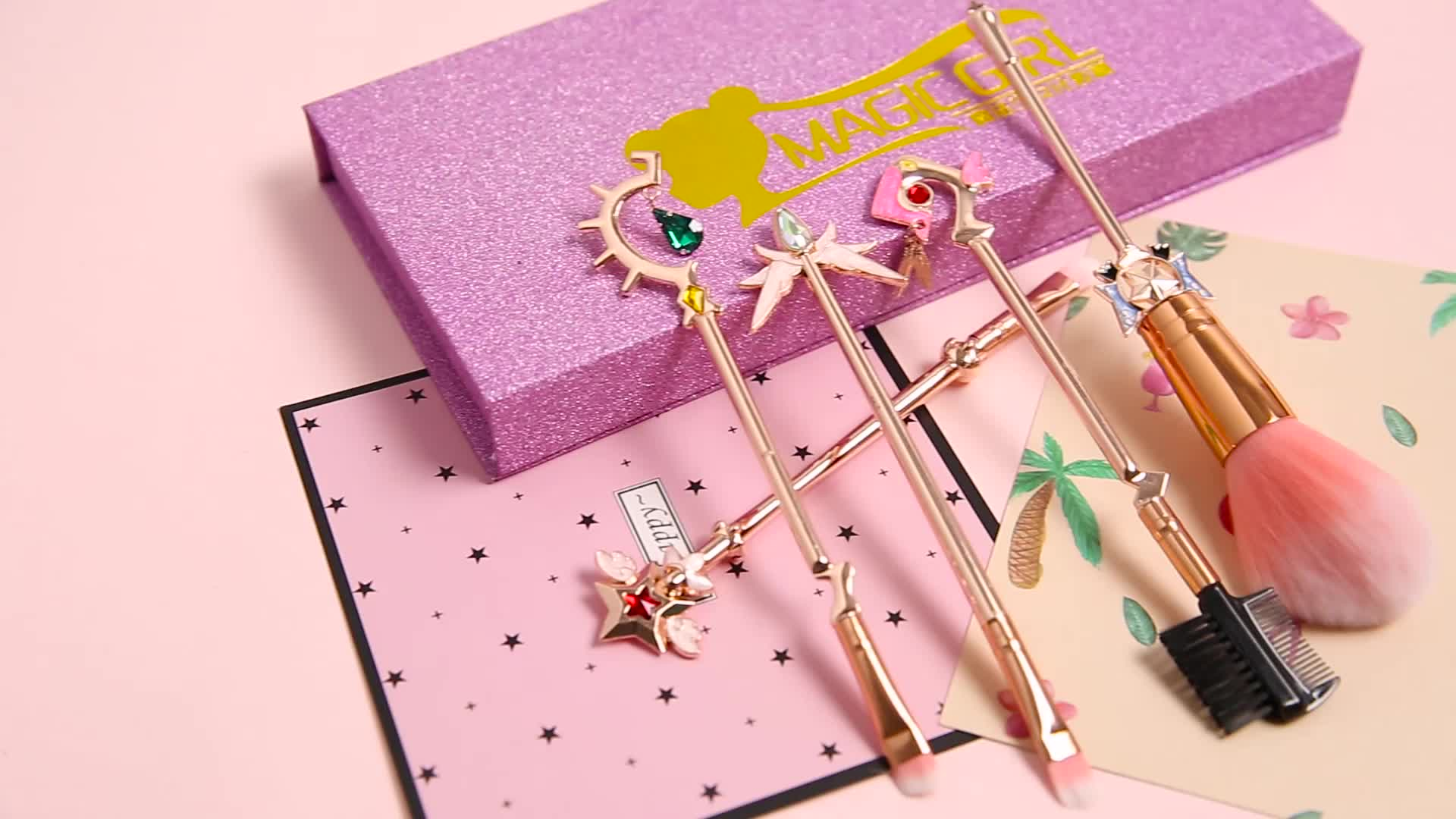 Magic Girl 5pcs/Set Cosmetic Powder Eyeshadow Eyebrow Brush Kit Girl Beauty Makeup Brushes Set