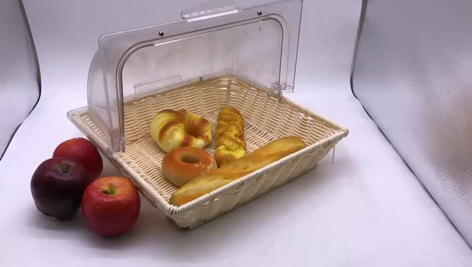 High Quality Hand-woven PP Rattan Food Storage Basket with PC Cover for Bread