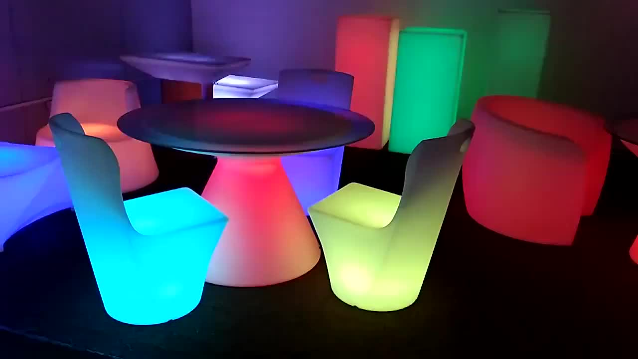 Glow Lighting Table and Chair Decorative LED Garden Outdoor Furniture Set for Apartment