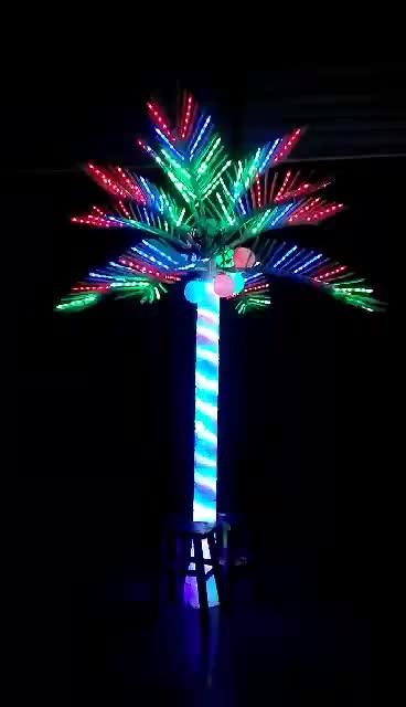 דקורטיבי גדול מלאכותי led נופש חיצוני מואר אורות עץ דקל דקל