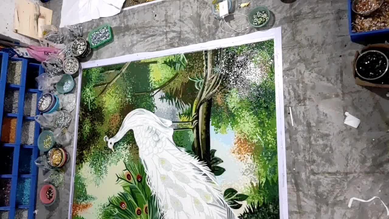 Màu xanh lá cây mosaic con công hình ảnh nghệ thuật mô hình thiết kế gạch mosaic thủy tinh chất liệu nghệ thuật mosaic bức tranh tường thủ công tường backsplash