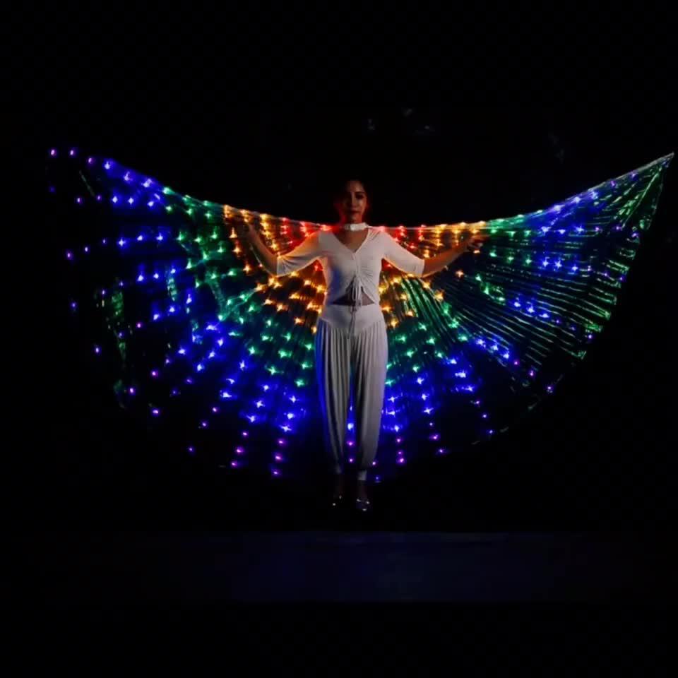 Parlak gökkuşağı led ışık oryantal dans isis kanatları sahne sahne için