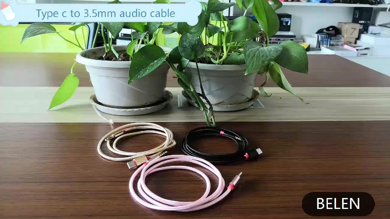סוג C כדי 3.5mm אודיו כבל USB סוג-C 3.5 שקע USB C כדי 3.5mm אביב Aux כבל לרכב סטריאו רמקול אוזניות